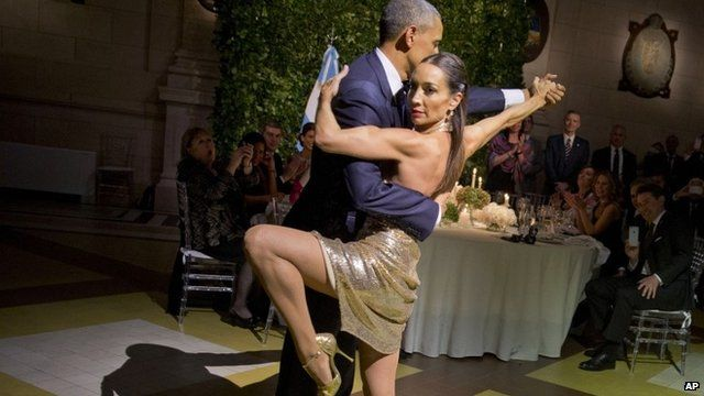 Presidente Obama dancing tango with Mora Godoy
